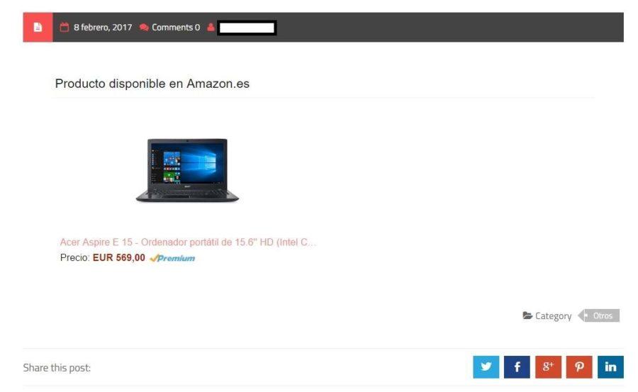 Post producto Amazon