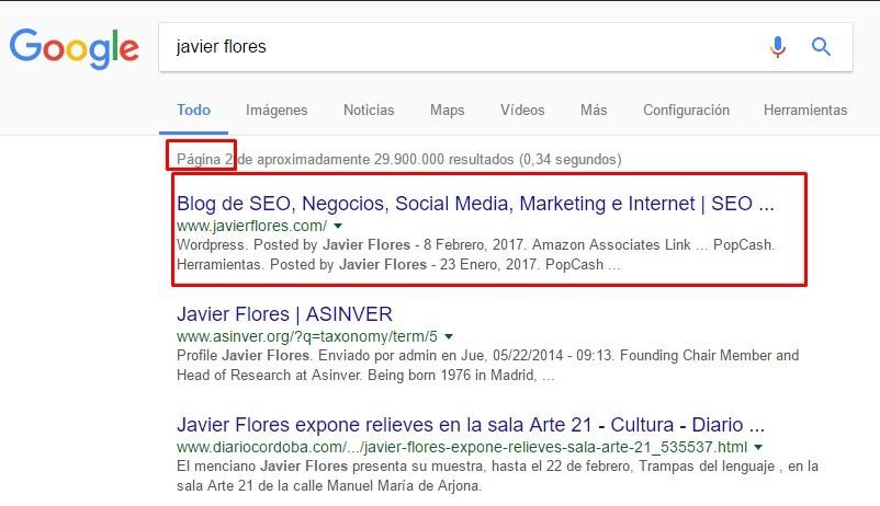 Resultados buscador Google.es
