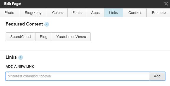 Añadir link a About.me