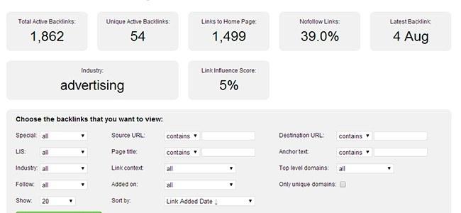 Backlinks en Open Link Profiler