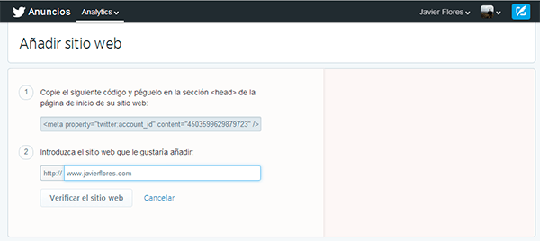Integrar web en Twitter Analytics