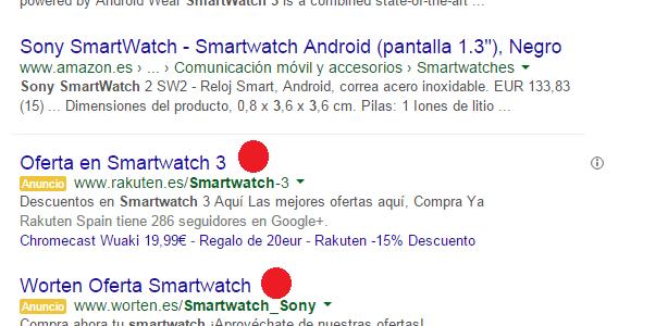 Resultados competencia en búsqueda Amazon