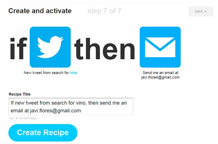 Paso final crear receta en IFTTT