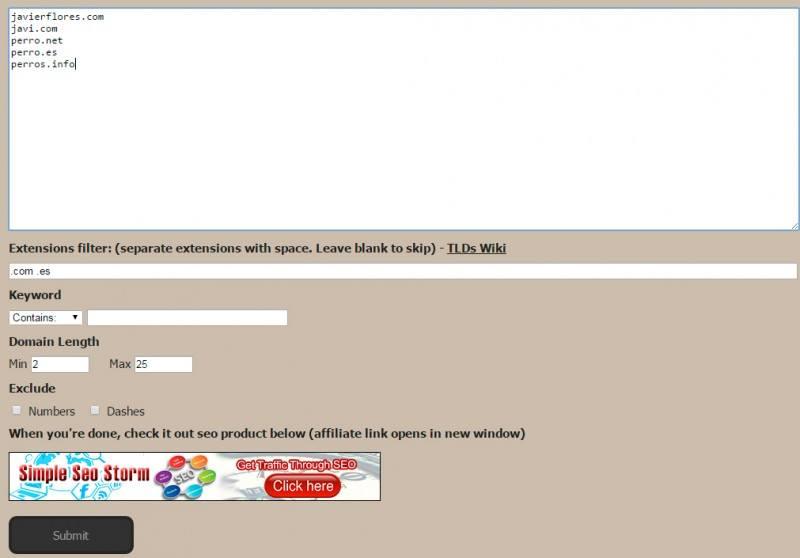 Free Domain Name Filter Tool