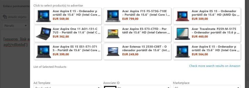 Listado de productos Amazon